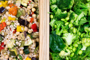 mixed grains and green vegetable medley